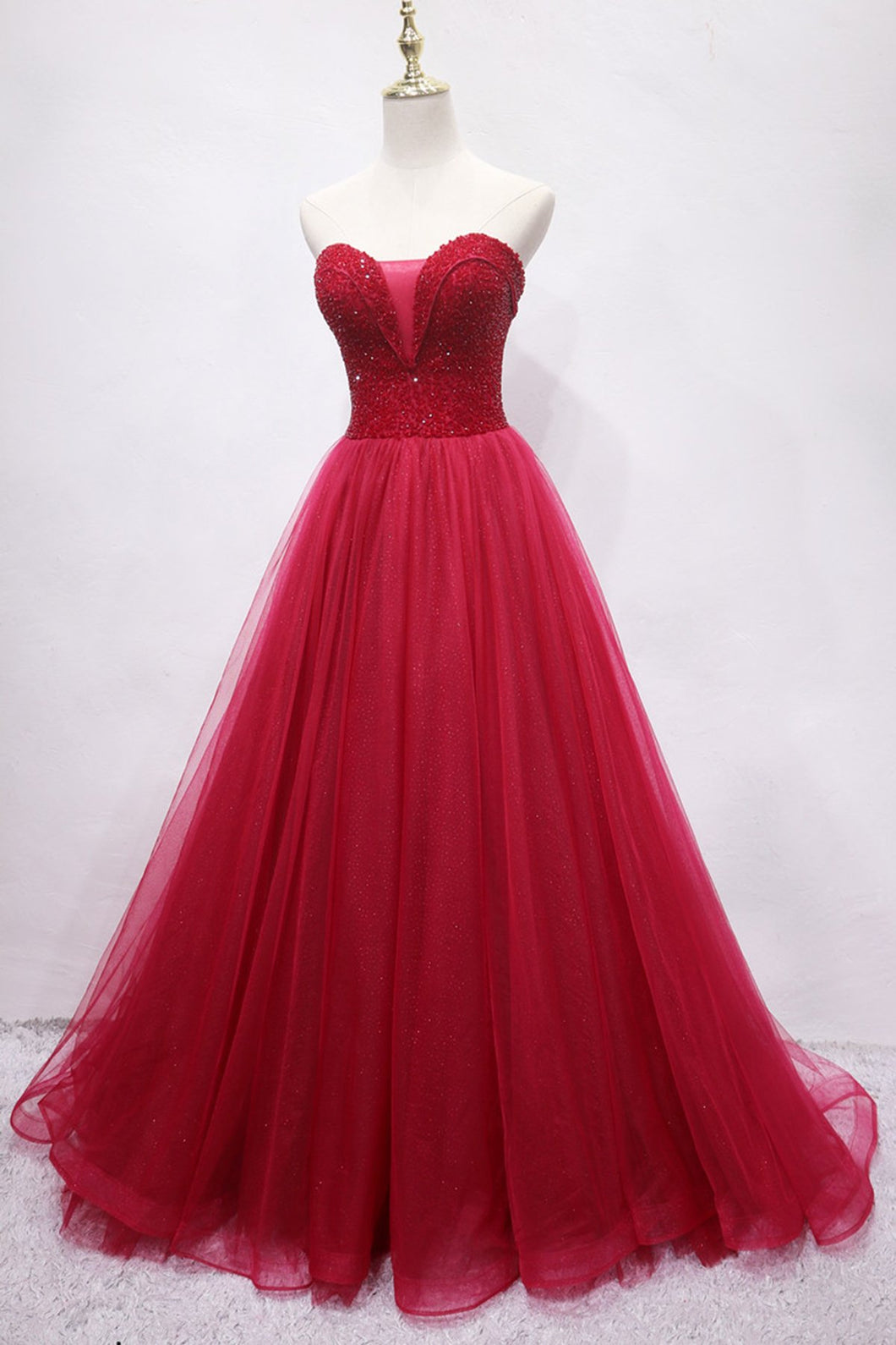 2019 Prom Dresses | Burgundy Tulle Sweetheart Neck Long Crystal Evening Dress, Prom Dress