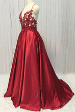 Load image into Gallery viewer, 2019 Prom Dresses | Burgundy Satin Spaghetti Straps Long Prom Dress, Lace Evening Dress