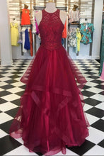 Load image into Gallery viewer, 2019 Prom Dresses | Burgundy tulle sleeveless long senior prom dress, long lace top sequins evening dress