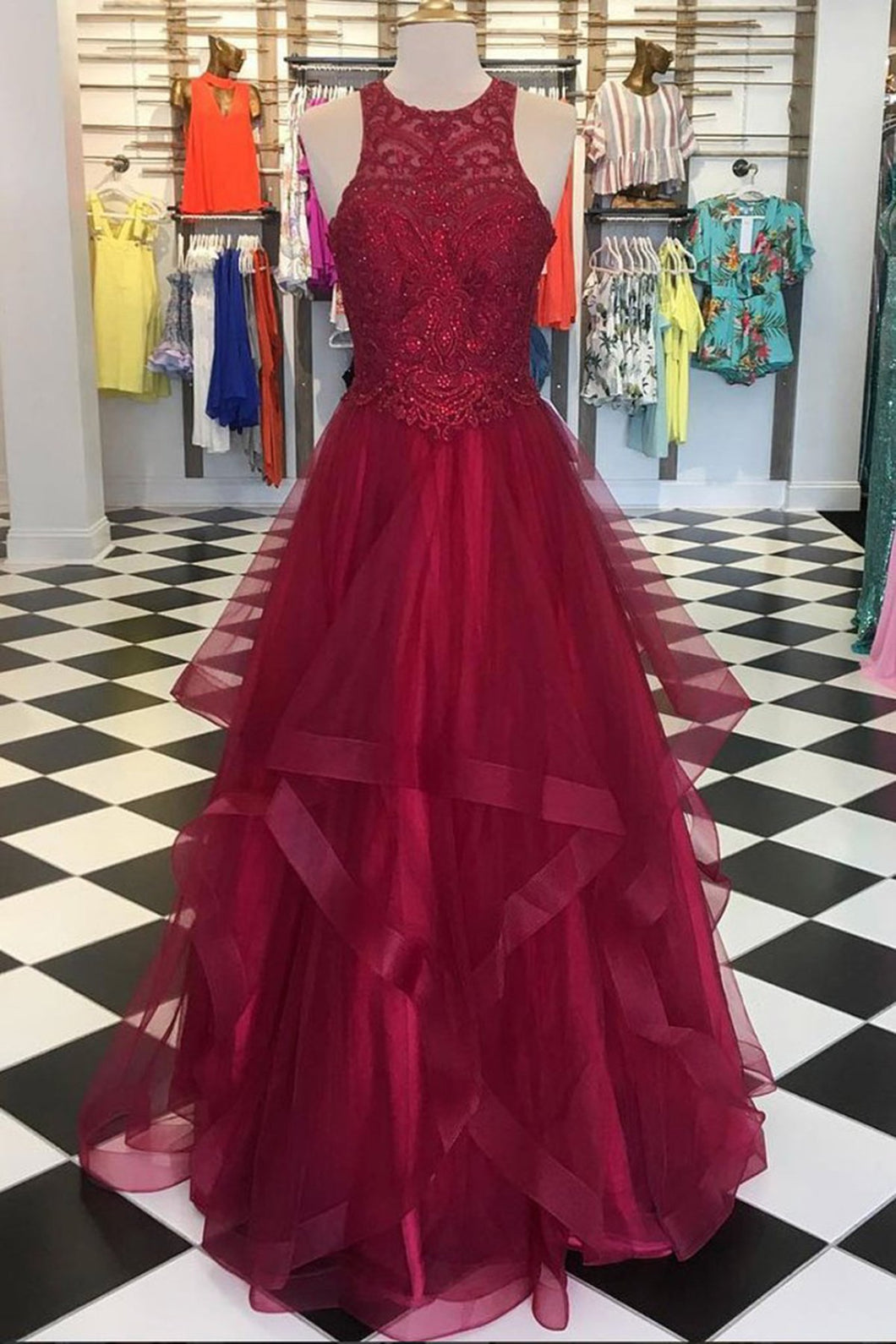 2019 Prom Dresses | Burgundy tulle sleeveless long senior prom dress, long lace top sequins evening dress