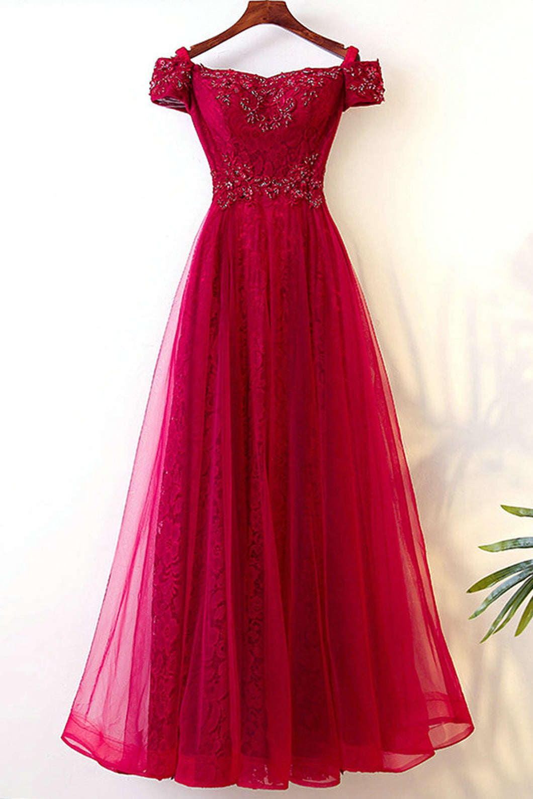 2019 Prom Dresses | Burgundy tulle off shoulder long A-line beaded V neck prom dress, long lace evening dress