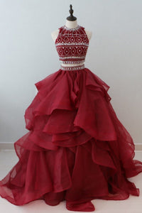 Sweet 16 Dresses | Stylish burgundy organza two pieces long ruffles beaded prom gown, long open back shinning evening dresses