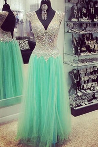 2018 evening gowns - Mint tulle V-neck beading sequins open back A-line long evening dresses,gradustion dress for teens