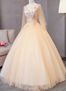 2019 Prom Dresses | Champagne tulle V neck mid sleeve long 3D lace appliqué senior prom dress, long evening dress