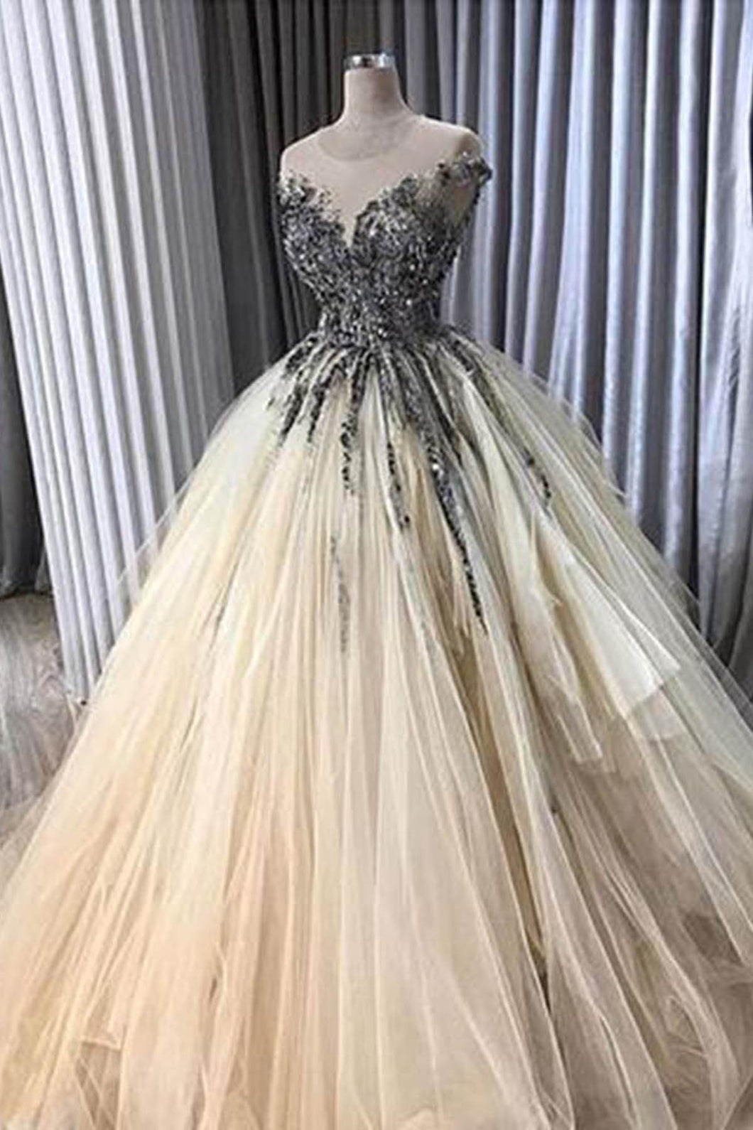 2019 Prom Dresses | Creamy tulle O neck long ruffles lace appliqué evening dress with cap sleeve