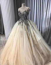 Load image into Gallery viewer, 2019 Prom Dresses | Creamy tulle O neck long ruffles lace appliqué evening dress with cap sleeve