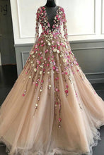 Load image into Gallery viewer, 2019 Prom Dresses | Champagne Tulle 3D Flower Lace Applique Long Senior Prom Dress With Long Sleeve