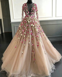 2019 Prom Dresses | Champagne Tulle 3D Flower Lace Applique Long Senior Prom Dress With Long Sleeve