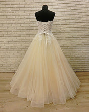 Load image into Gallery viewer, 2019 Prom Dresses | Champagne Tulle Strapless Plus Size Long Lace Formal Prom Dress, Bridal Dress
