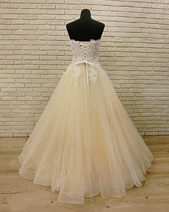 2019 Prom Dresses | Champagne Tulle Strapless Plus Size Long Lace Formal Prom Dress, Bridal Dress