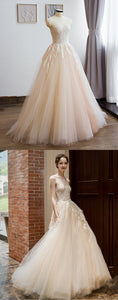 2019 Prom Dresses | Champagne Tulle Round Neck Beaded Lace Long Senior Prom Dress, Evening Dress