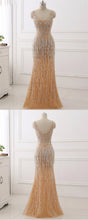 Load image into Gallery viewer, Sweet 16 Dresses | Unique champagne tulle long mermaid sequins evening dress, long halter appliqués formal prom dress