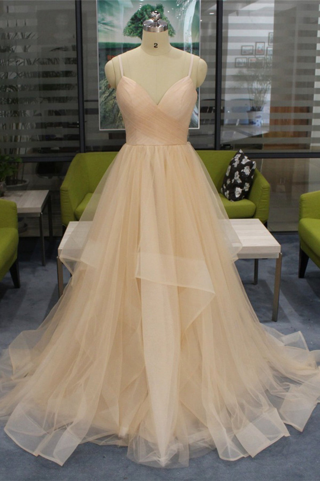 2019 Prom Dresses | Champagne Tulle Spaghetti Long Open Back Ruffles Prom Dress