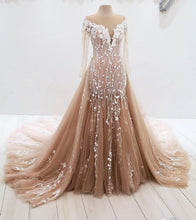 Load image into Gallery viewer, 2019 Prom Dresses | Champagne Tulle Long Sleeve Round Neck Lace Applique Sweep Train Evening Dress, Prom Dress