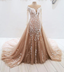 2019 Prom Dresses | Champagne Tulle Long Sleeve Round Neck Lace Applique Sweep Train Evening Dress, Prom Dress