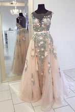 Load image into Gallery viewer, 2019 Prom Dresses | Champagne tulle cap sleeves long colorful embroidery lace senior prom dress with sash