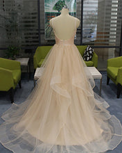 Load image into Gallery viewer, 2019 Prom Dresses | Champagne Tulle Spaghetti Long Open Back Ruffles Prom Dress