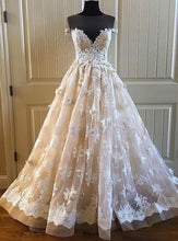 Load image into Gallery viewer, 2019 Prom Dresses | Creamy lace sweetheart neck short sleeve long formal prom dress, long tulle evening dress