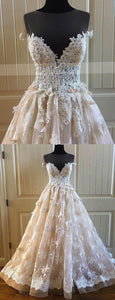 2019 Prom Dresses | Creamy lace sweetheart neck short sleeve long formal prom dress, long tulle evening dress