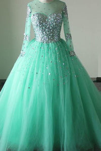 2018 evening gowns - Mint organza beading round neck A-line long sleeves long prom dresses ,formal dresses