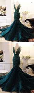 Sweet 16 Dresses | Dark green tulle long deep V neck halter beaded mermaid evening dress