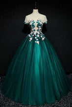 Load image into Gallery viewer, Sweet 16 Dresses | Dark green satin short sleeves A-line evening dress with flower appliqués, long handmade formal prom dresses