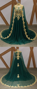 Sweet 16 Dresses | Dark Green Tulle Gold Lace Applique Long Arabic Formal Prom Dress, Evening Dress