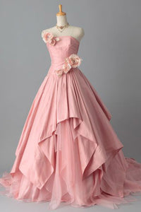 Sweet 16 Dresses | Pink chiffon sweetheart handmade flowers ball gown dresses,long prom dresses