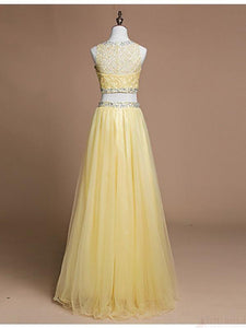 Sweet 16 Dresses | Yellow tulle two pieces beading sequins sleevless  O-neck A-line long prom dresses,  evening dress