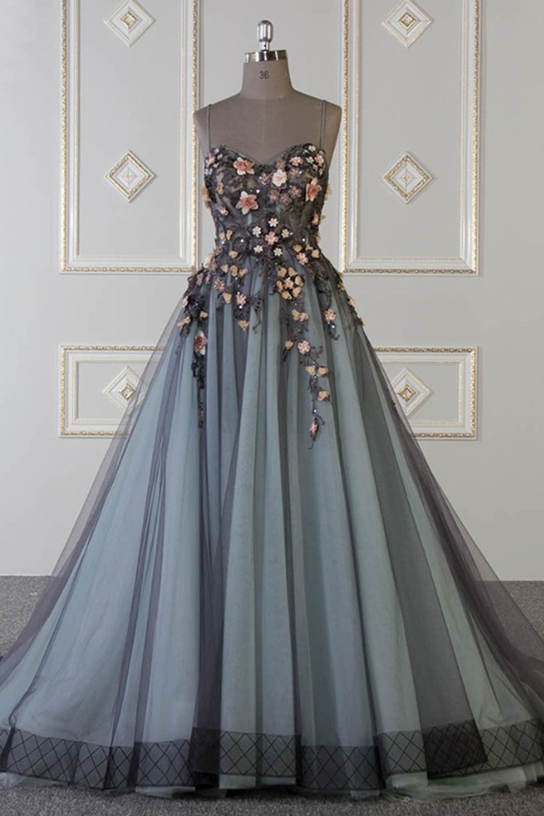 2019 Prom Dresses | 2019 Spring sweetheart neck A-line customize long tulle flower appliqué senior prom dress