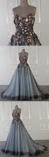 Load image into Gallery viewer, 2019 Prom Dresses | 2019 Spring sweetheart neck A-line customize long tulle flower appliqué senior prom dress
