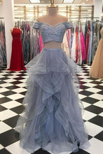 Load image into Gallery viewer, Sweet 16 Dresses | Gray tulle two pieces sweetheart neck silver sequins long prom dress, long ruffles evening dress with sleeves