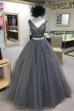 Load image into Gallery viewer, Sweet 16 Dresses | Gray tulle two piece V neck long beaded homecoming dress, gray long party dress