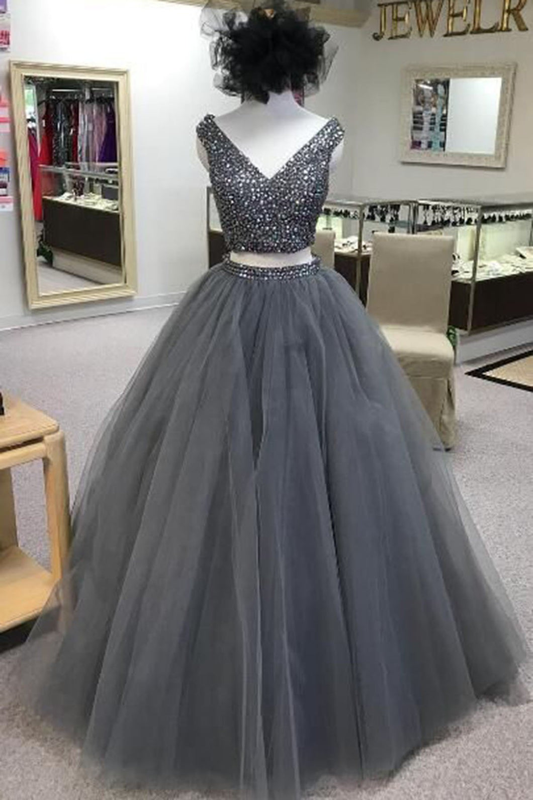 Sweet 16 Dresses | Gray tulle two piece V neck long beaded homecoming dress, gray long party dress