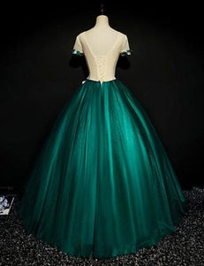 Sweet 16 Dresses | Dark green satin short sleeves A-line evening dress with flower appliqués, long handmade formal prom dresses
