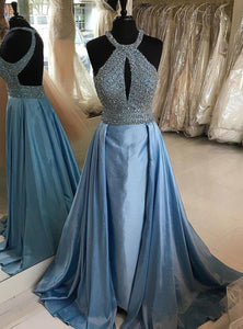 2019 Prom Dresses | Blue Satin Beaded Open Back Long Evening Dress, Formal Prom Dress