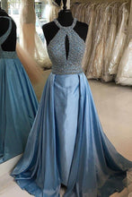Load image into Gallery viewer, 2019 Prom Dresses | Blue Satin Beaded Open Back Long Evening Dress, Formal Prom Dress