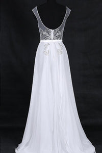 Sweet 16 Dresses | Elegant white chiffon sequins beading see-through backless long dresses,evening dresses
