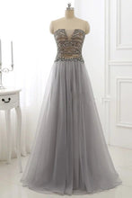 Load image into Gallery viewer, Sweet 16 Dresses | Gray organza A-line beading sweetheart long dresses,evening dresses for teens