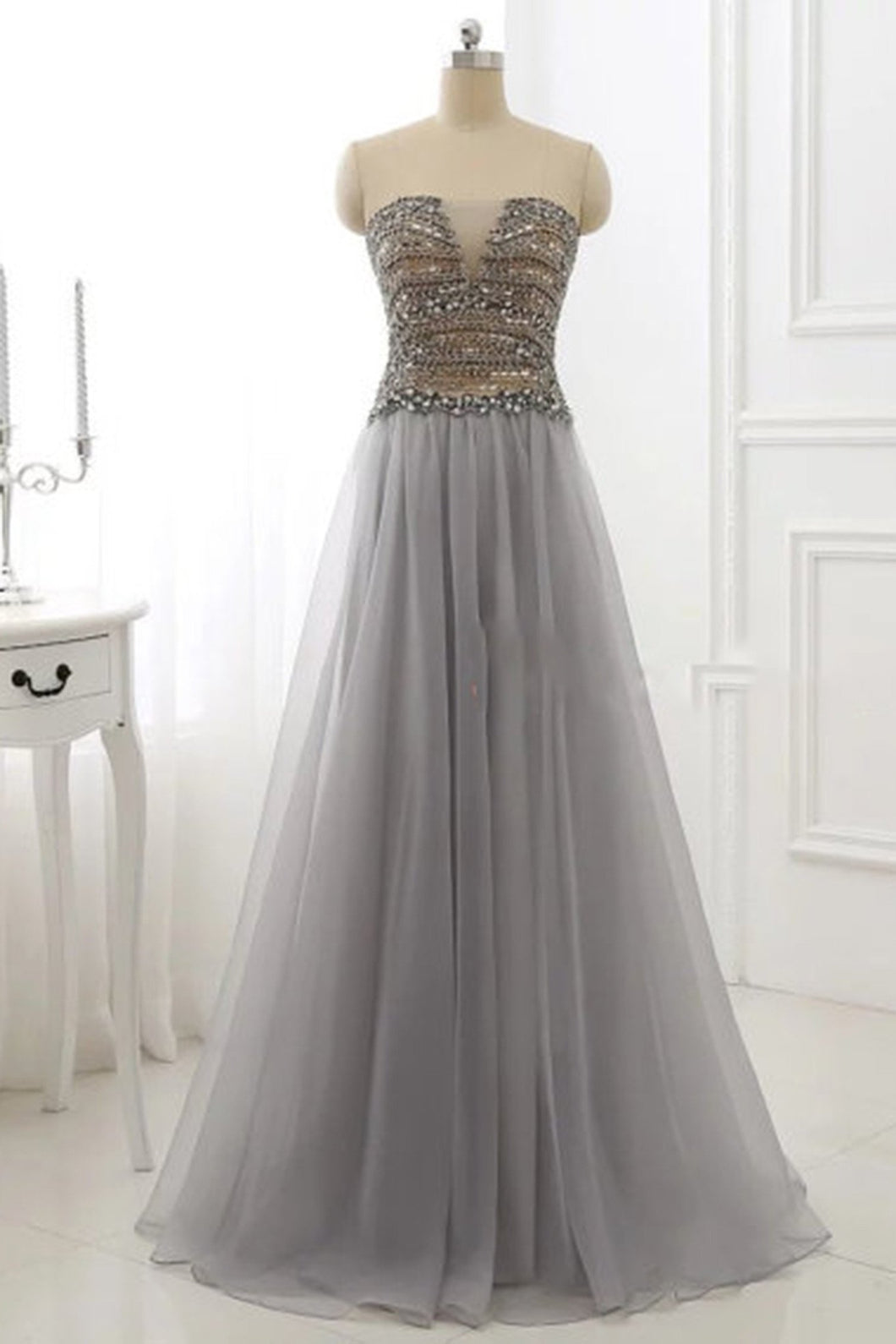Sweet 16 Dresses | Gray organza A-line beading sweetheart long dresses,evening dresses for teens