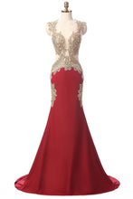 Load image into Gallery viewer, Sweet 16 Dresses | Lexury red chiffon gold lace V-neck mermaid long evening dresses with straps