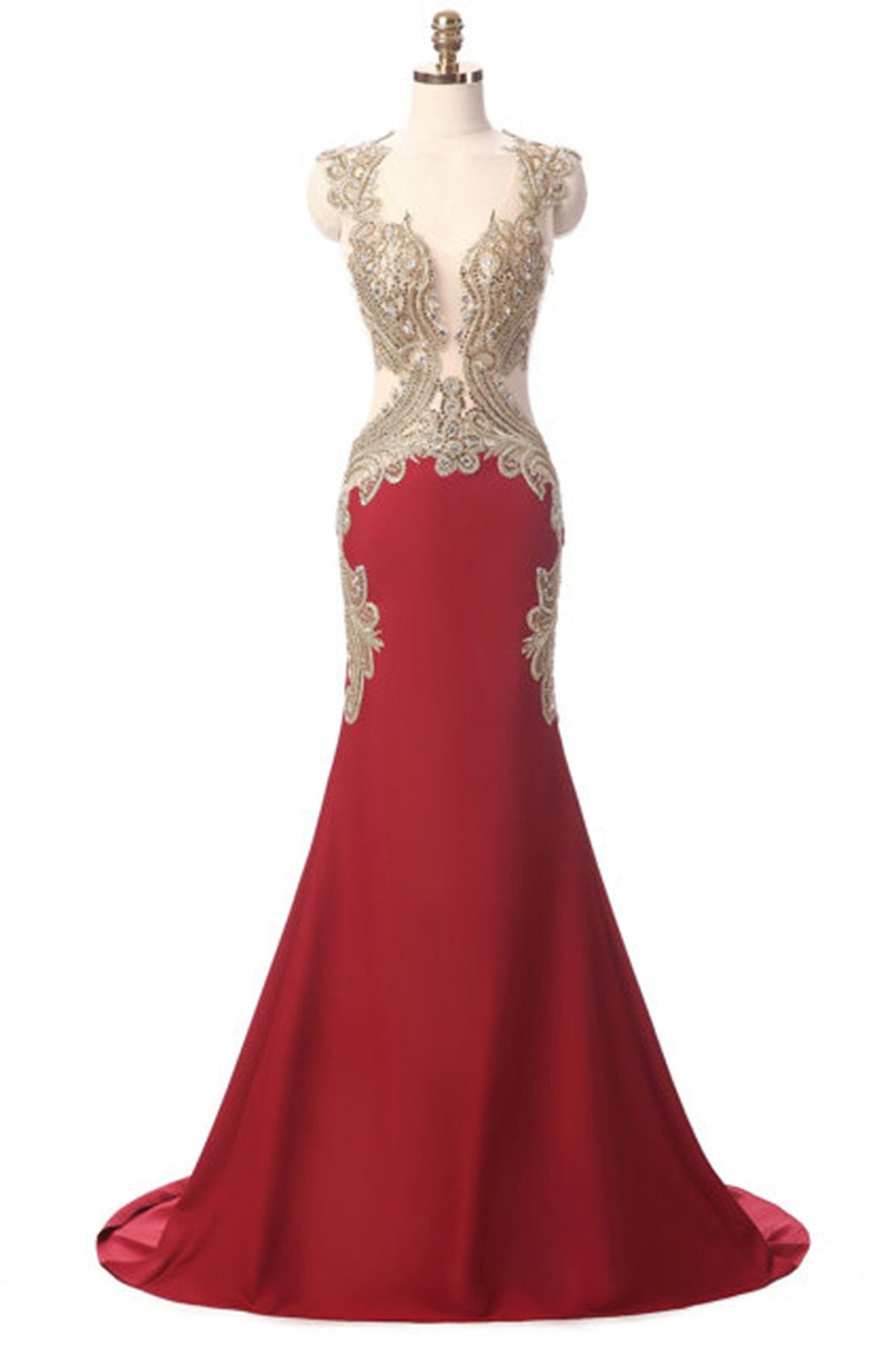 Sweet 16 Dresses | Lexury red chiffon gold lace V-neck mermaid long evening dresses with straps