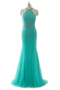 Sweet 16 Dresses | Turquoise tulle beading halter backless mermaid long dress,evening dresses