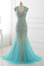 Load image into Gallery viewer, 2018 evening gowns - Ice blue tulle beading rhinestone backless mermaid long dress,evening dresses