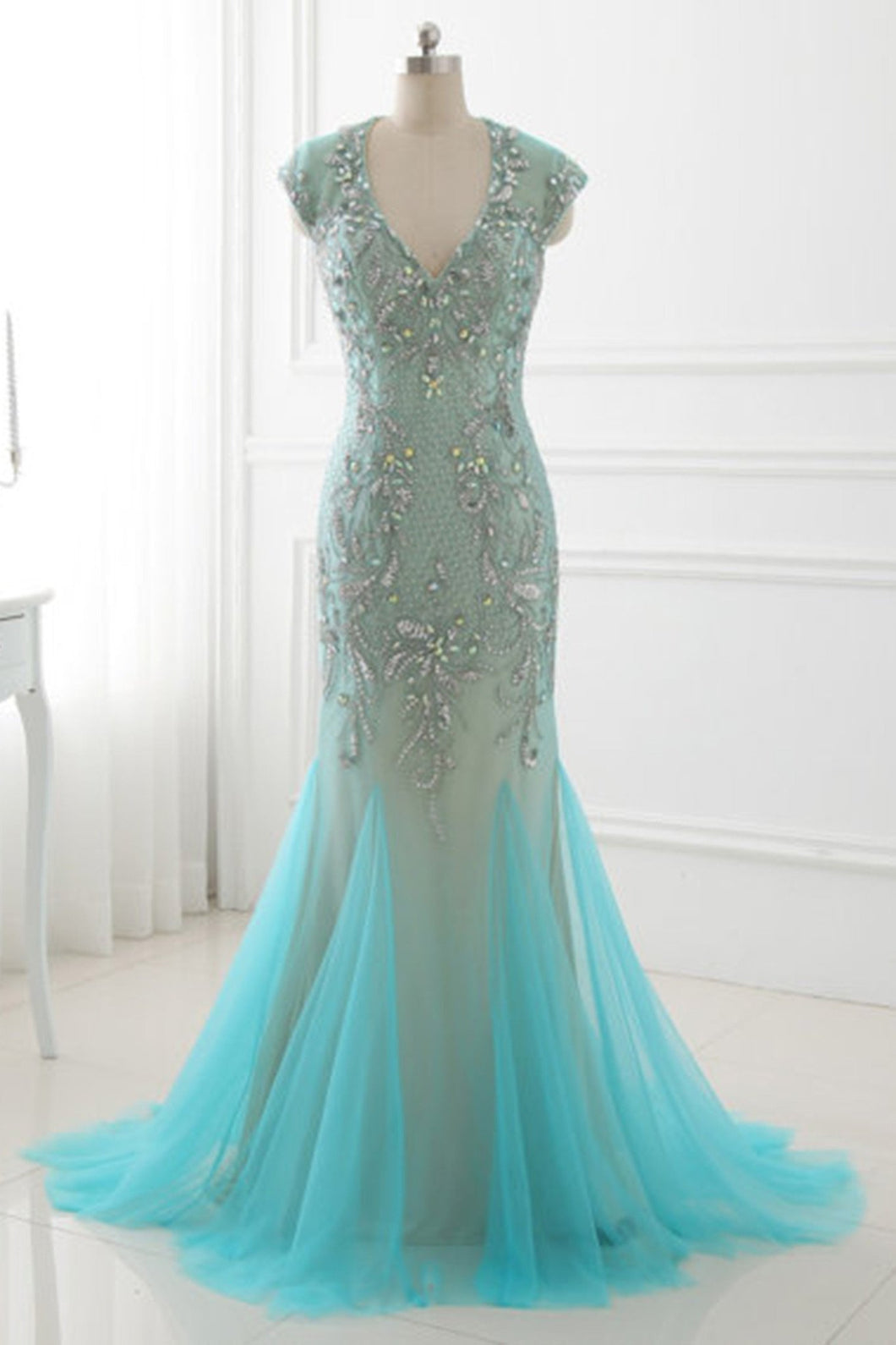 2018 evening gowns - Ice blue tulle beading rhinestone backless mermaid long dress,evening dresses