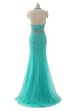 Load image into Gallery viewer, Sweet 16 Dresses | Turquoise tulle beading halter backless mermaid long dress,evening dresses