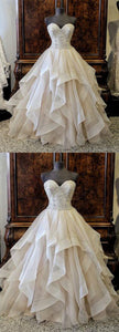 Sweet 16 Dresses | Sweetheart creamy tulle customize long wedding dress with beading, long winter formal prom gown