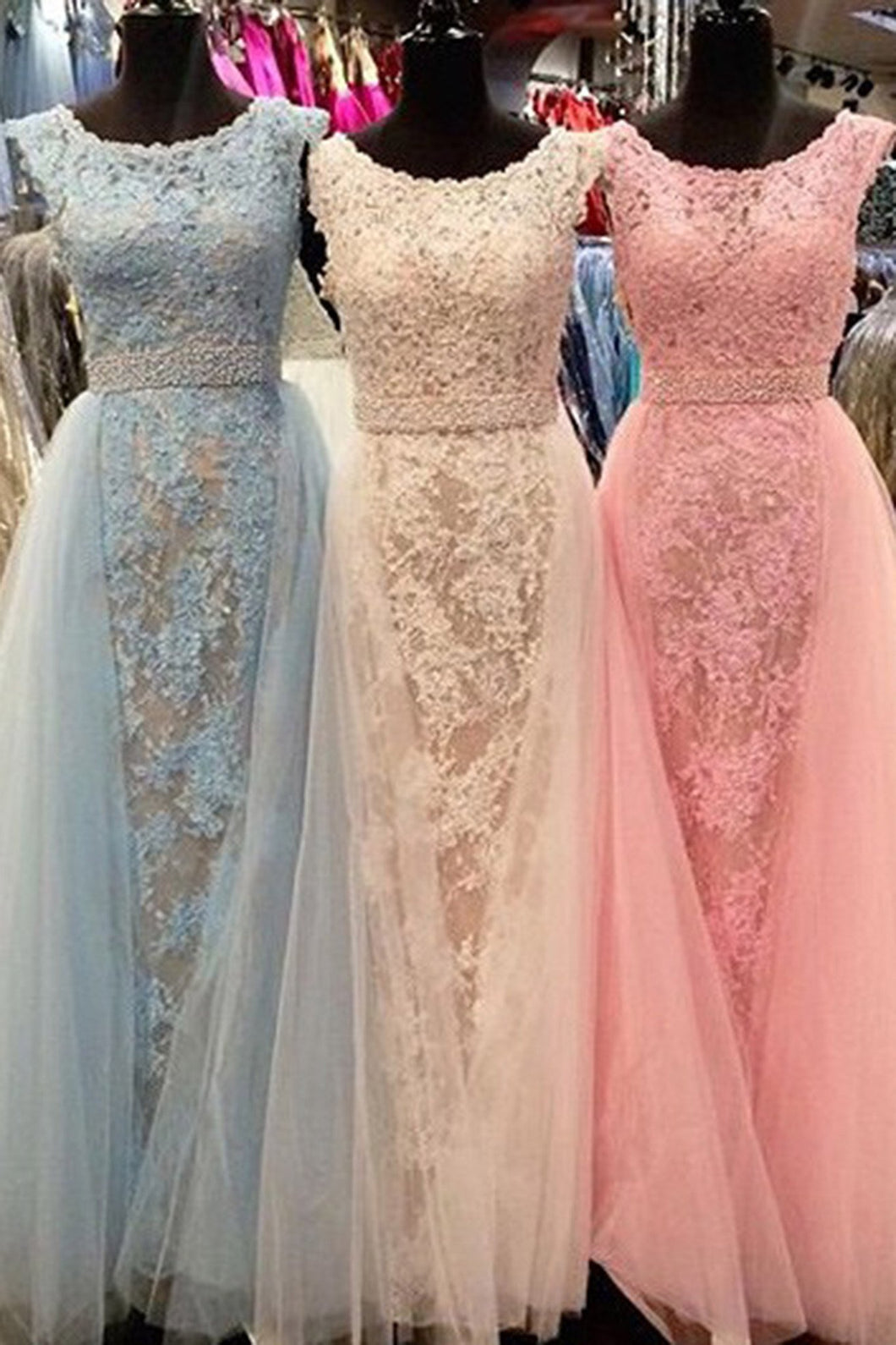 2019 Prom Dresses | Beautiful organza lace applique round neck A-line bridesmaid long dress