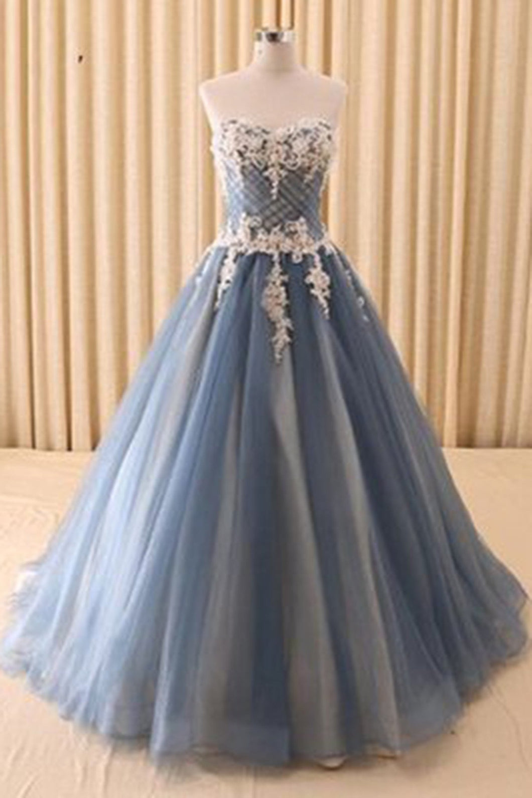 2019 Prom Dresses | Beautiful gray organza lace applique sweetheart  A-line bridesmaid long dress,wedding dress