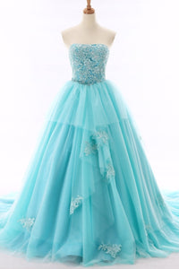Sweet 16 Dresses | Unique light blue tulle sweetheart neckline beaded prom gown, long tulle lace evening dress